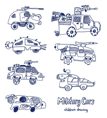 Comic cartoons of military cars. Vector set. Really childrens drawing.