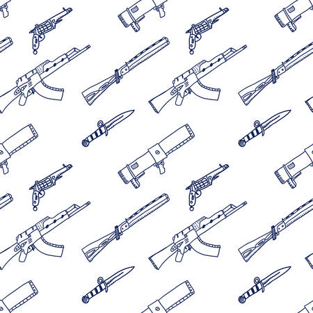 Comic cartoons weapons. Seamless sketch. Really childrens drawing.
