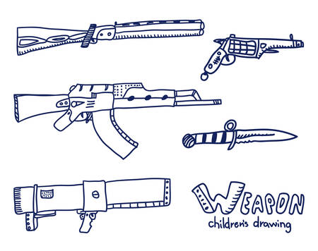 Weapons sketch. Real childrens drawing. Illustration