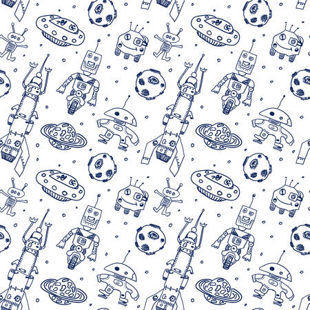Comic cartoons UFO and robots. Seamless sketch. Real childrens drawing. Illustration