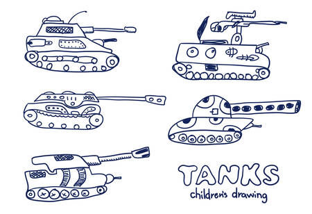 Comic cartoons tanks. Vector sketches set. Real childrens drawing. Illustration
