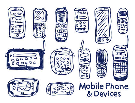 Comic cartoons mobile phoones and devices. Vector sketches set. Really childrens drawing. Illustration