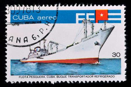 A postage stamp printed in Cuba shows fish factory ship Oceano Atlantico, series Fishing Fleet, circa 1978