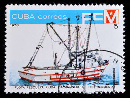 A postage stamp printed in Cuba shows Fishing Base, from the series Fishing fleet of Cuba, circa 1978 Editorial