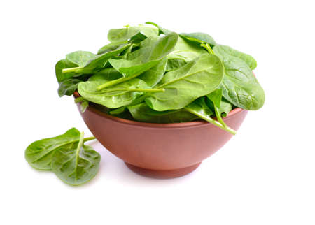 Fresh bunch of spinach in the bowl. Isolated on White background. Фото со стока