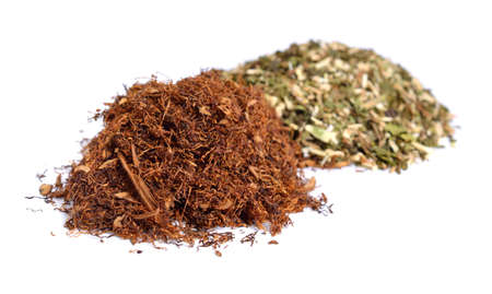 Different ready-rubbed pipe tobacco. Isolated on white background. Фото со стока