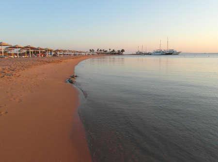 Red sea beach in the morning sun.