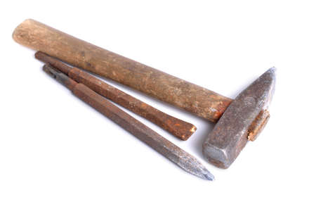 Vintage old rustic claw hammer with Chisel. Isolated