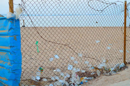 Garbage on the beach of the Red Sea in Egypt.