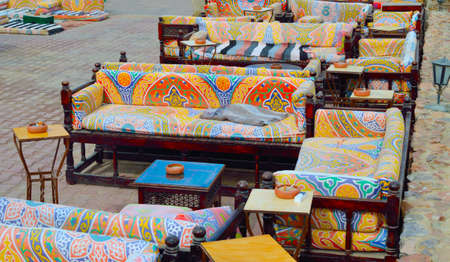 Cafe and shisha bar with beautiful oriental furniture. In Egyptian hotel.