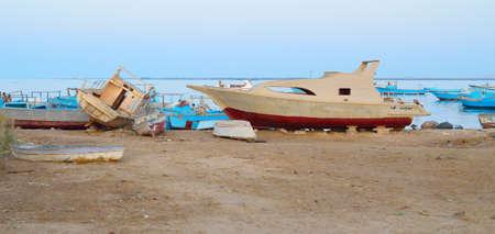 Marina Safaga. Egypt. Fishing boats in the evening. Panorama Standard-Bild