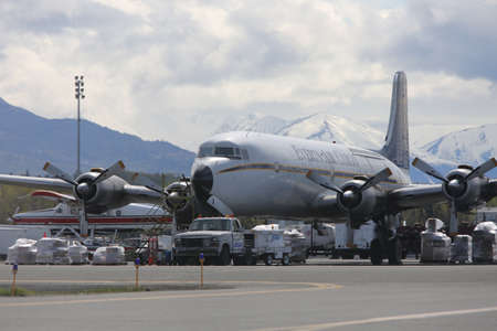 Everts Air Cargo Douglas DC6, built in the 1950s,  loading up for another freight run. Anchorage 2016