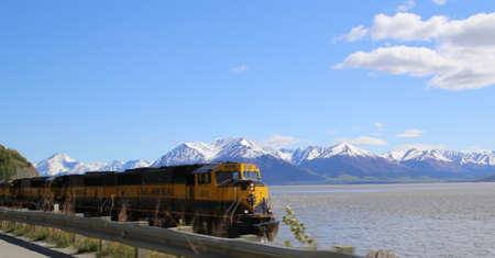 anchorage: Alaskan Railroad train, inbound to Anchorage