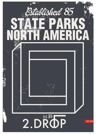 North America, T-shirt graphics, vectors Illustration