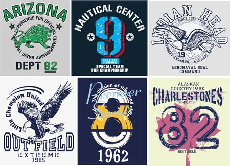 Colegio tipografía chica atlética, camiseta, gráfico, vector