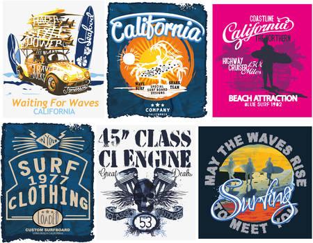 Surf sport typography, t-shirt graphics, vectors Imagens - 61496151