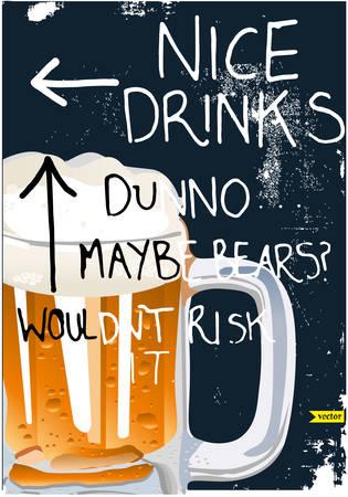 viewfinderchallenge1: llustration of beer glass with ribbon on victorian background Illustration