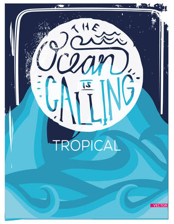 Ocean wave typography, t-shirt graphics