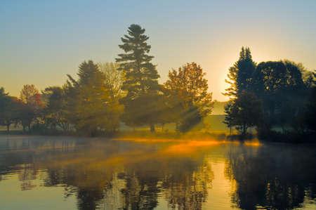 호수, 태양에서가 일출 나무와 아침 안개 통해 빛나고있다