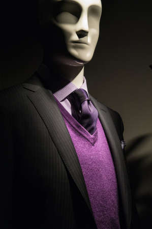 menswear: Dark picture of a mannequin in dark gray striped jacket  with checkered shirt, purple V-neck sweater and purple tie