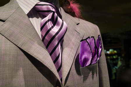 Close-up of light grey checkered jacket with white striped shirt, purple striped tie and purple handkerchief photo