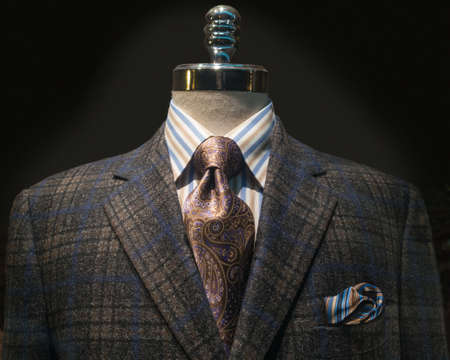 male mannequin: Mannequin with dark brown and blue checkered jacket, striped shirt, purple tie and handkerchief  Stock Photo