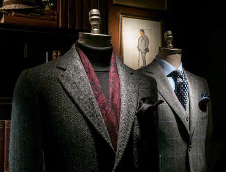 menswear: Two mannequin in a tailor