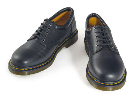 walk in closet: A pair of black men s shoes Isolated on white  Clipping path included  Stock Photo