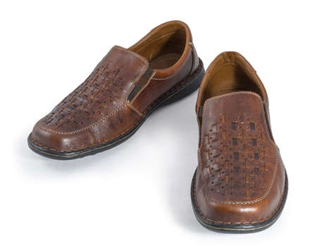 walk in closet: A pair of brown men s sandal shoes isolated on white  Clipping path included
