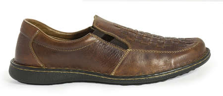 walk in closet: Close-up of a brown men s sandal shoe isolated on white  Extra high resolution  Clipping path included