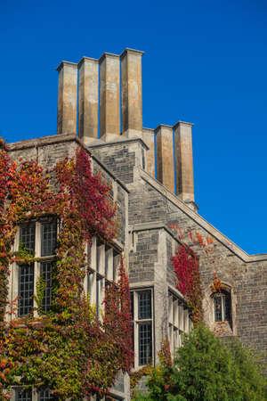 빨간 담쟁이, 굴뚝, 밝은 푸른 하늘, 복사본 공간이있는 오래 된 건물의 세부 사항