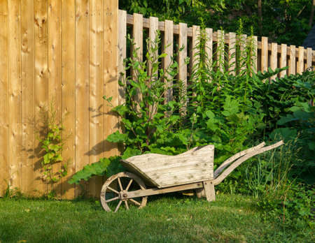 Decorative wooden wheelbarrow planter near wooden fence  photo