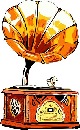 A sketch of a gramophone playing a record. Suitable for cards