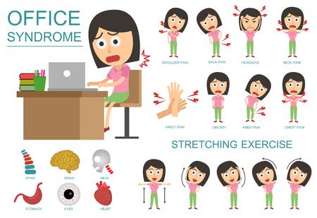 El síndrome Oficina Infografía. concepto de cuidado de la salud. vector diseño plano de dibujos animados. de estar mal en el lugar de trabajo.
