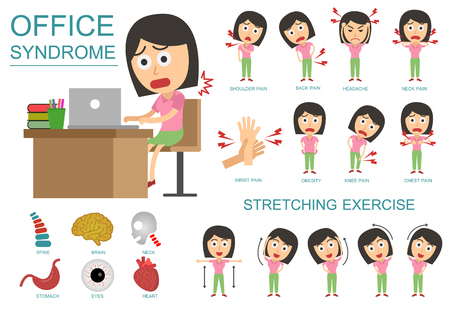 Office syndrome Infographics. health care concept. vector flat cartoon design. Wrong sitting in the workplace.