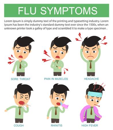 influenza: Flat infographic. Flu symptoms and Influenza on white background.