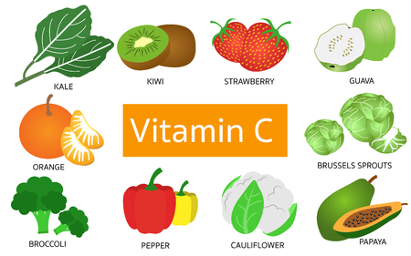 Vitamin C food sources on white background. Иллюстрация