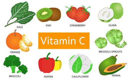 Vitamine C voedselbronnen op witte achtergrond.