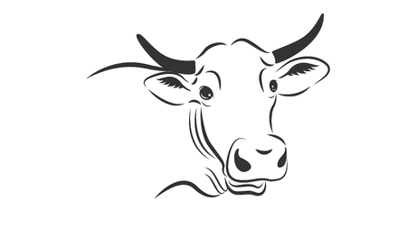 Cow emblem on white backdrop Stock Vector - 76883519