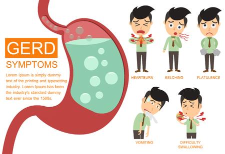 GERD información gráfica síntomas elementos. Foto de archivo - 76883581