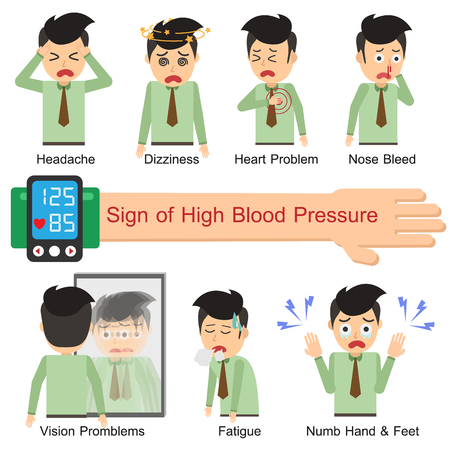 Sign of High blood pressure. Vector illustration flat design. Office Man. Stok Fotoğraf - 91019531