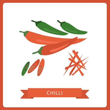 Chilli cartoon vector. free space for text. Wallpaper, vector illustrations. White background.