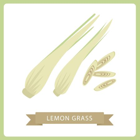 lemon grass with slice flat vector, lemon grass isolated on black background. vector illustration. Ilustração