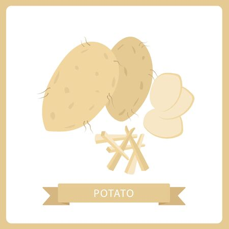 Potatoes vector illustration isolated on background. Set of whole, slices, half, lobule, circle potatoes. Ilustração