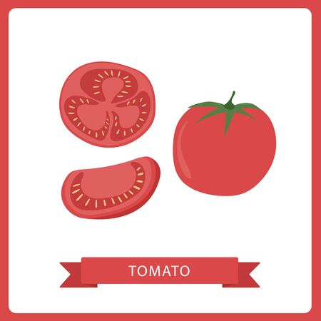 Fresh Red Tomato Vegetable on white background. Organic Food. Cartoon Flat Style. Ilustração