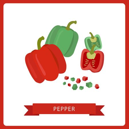 Red and Green bell pepper. Whole and slice isolated on white background. Healthy food, diet. Vector illustration. Flat cartoon style