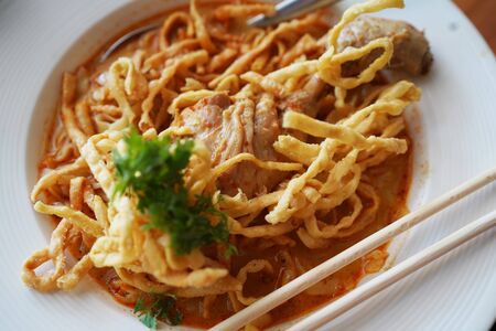 Khao Soi Kai. Northern Thai Curry Noodles with Chicken