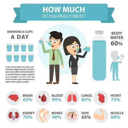 Drinking water for health care and body water balance infographic. Flat vector illustration. isolated on white background