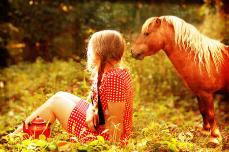 pony girl: girl with horse