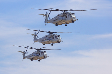 mach 1: Miramar, California,USA- October 3,2014. CH-53 Super Stallion Helicopters performs at 2014 Miramar Airshow